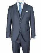 Caruso Suit With Vest In Dark Blue From Connoisseur Superfine 130and039s Wool