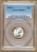 1949 S Roosevelt Dime 10andcent - Pcgs Ms66+ - Toned
