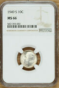 1949 S Roosevelt Dime 10andcent - Ngc Ms66 - Toned