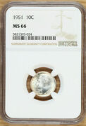 1951 Roosevelt Dime 10andcent - Ngc Ms66 - Toned