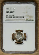 1952 Roosevelt Dime 10andcent - Ngc Ms66 Ft - Toned