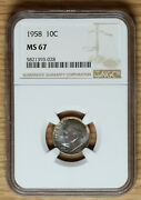 1958 Roosevelt Dime 10andcent - Ngc Ms67 - Toned