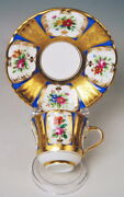 Old Vienna Collection Cup Flower Painting Gold Antique With Saucer Um 1855