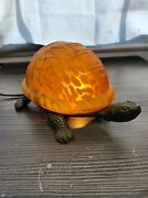 Vintage Turtle Lamp Amber Glass Shell Table/night Light Works Great