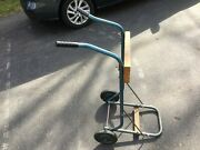 Vintage Metal And Wood Boat Outboard Motor Wheels Cart Storage Stand Evinrude