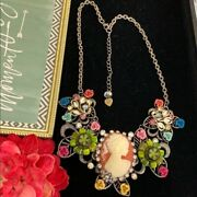 Adorned Crown Artisan Cluster Bib Cameo Button Necklace