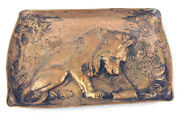 Fine Silver Plated Bronze Gorham Lion Tray For Cigars