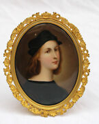 Magnificent 19c French Dore Bronze Framewith Nand Painted Porcelain Picture
