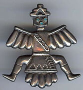 Horace Iule Vintage Zuni Indian Silver And Turquoise Knifewing Pin Brooch