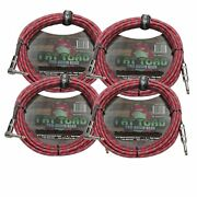 Guitar Cable Right Angle 20ft Tweed Cloth Woven Braided Cord 1/4 Instrument Wire