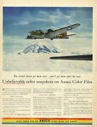 1943 Ansco Color Film Boeing Flying Fortress Over My Rainer Washington Print Ad