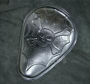 Leather Motorcycle Seat Sportster Bobber 48 Harley Hd Chopper Black Hand Tooled
