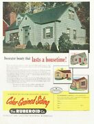 1952 Ruberoid Color Grained House Siding Print Ad