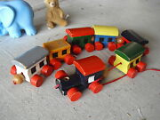 Vintage Made In Romania Wood Locomotive And 6 Cars Pull Toy