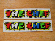 Valentino Rossi Style Text - The Chef X2 Stickers / Decals - 5in X 1in