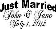 Just Married Personalized Wedding Car Vinyl Window Decal Sticker Decoration