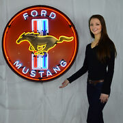 Collection Of 2 Neon Signs Ford Oval And Gt500 Gt350 And Gt Ford Mustang Olp
