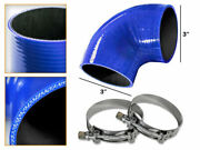 Blue Silicone 90 Degree Elbow Coupler Hose 3 76 Mm + T-bolt Clamps Ty
