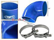 Blue Silicone 90 Degree Elbow Coupler Hose 3.5 89 Mm + T-bolt Clamps Jp