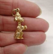1970's Heavy Solid 9ct Gold Begging French Poodle Dog Charm