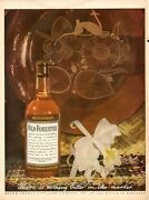 1944 Old Forester Print Ad Whiskey Feat Vintage Bottle Orchid And Decorator Plate