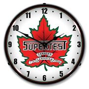 New Supertest Gas Retro Advertising Backlit L.e.d Lighted Clock - Free Shipping