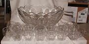 Rare Heisey Puritan Aka Colonial 341 Punch Set Bowl W/ 23 Cups And Glass Ladle