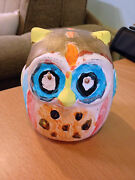 Owl Pottery Ceramic Hand Painted Arts And Crafts Decoration 4.5 X 5 X 4.5 New