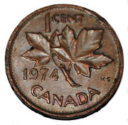 Canada 1974 1 Cent Copper One Canadian Penny Coin