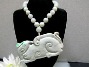 Natural Chinese Antique Old Jade Necklace + Vintage Carving Lucky Animal Pendant