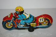 Tin Motorcycle Toy Thunder Bird Race Motorcycle 77 Made In Japan In 1950's