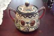 Moriage Rs Japan Pottery, Covered Handled Sugar C1940s [80]