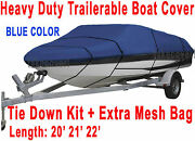 V-hull Fish Ski 20and039 21and039 22and039 Boat Trailerable Cover Beam 100 Blue Color Ft Hd