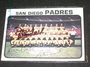1973 Padres Marshall, Corrales, Grubb +1 Team Signed Autographed Baseball Card