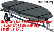 14and039 - 16and039 Aluminum Fishing Boat Cover Trailerable Iron Grey Color Tc11