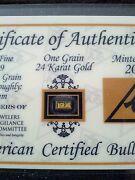 3 Pack Of 1grain 24k Solid Gold Bullion Acb Minted Bar 99.99 Fine With Coas +