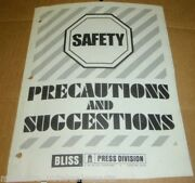 Ew Bliss Company Press Division Safety Precautions Suggestions Operators Manual