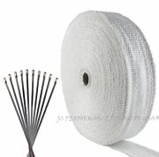 Fiberglass Exhaust Header Wrap 2 Wide 100 Ft White Kit W Stainless Ties Tape