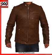 Hand Woven Antique Brown Fashion Leather Jacket Vintage Style Leather Jacket