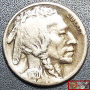 Keyer Date 1920-s Buffalo Nickel With Full Date And 3/4 Horn Showing High Grade