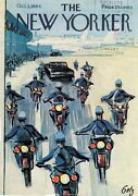 1964 New Yorker Magazine Cover Only Getz Art Motorcycle Police Escort Airport