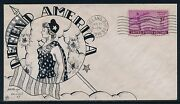 924 Defend America On Knapp Hand Drawn Us Patriotic Wwii Cachet Hv5455