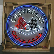 2 Huge 36 Neon Signs In Steel Cans Chevy Corvette And Super Chevrolet Service