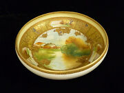 Exquisite Signed Nippon Hand Painted Gilt And Enameled Scenic Footed Bowl