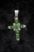 Archie Martinez Sterling Silver And Jade Cross Pendant