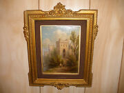 Listed William Rickarby Miller American 1818-1893 Oil Painting People Castle
