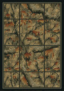 Checkered Border Deer Lodge 2x8 Area Rug Rustic Runner Actual Size 1'11 X 7'4