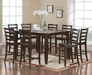 9pc Fairwinds Counter Height Table W/ Butterfly Leaf + 8 Wood Chairs Cappuccino
