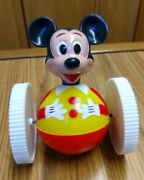 Vintage Walt Disney Mickey Mouse Rolling Toy, Mib 1971, Marx, Roly Poly