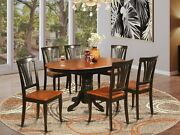 7pc Avon 42x60 Oval Kitchen Dining Table W/ 6 Wood Seat Chairs In Black And Cherry